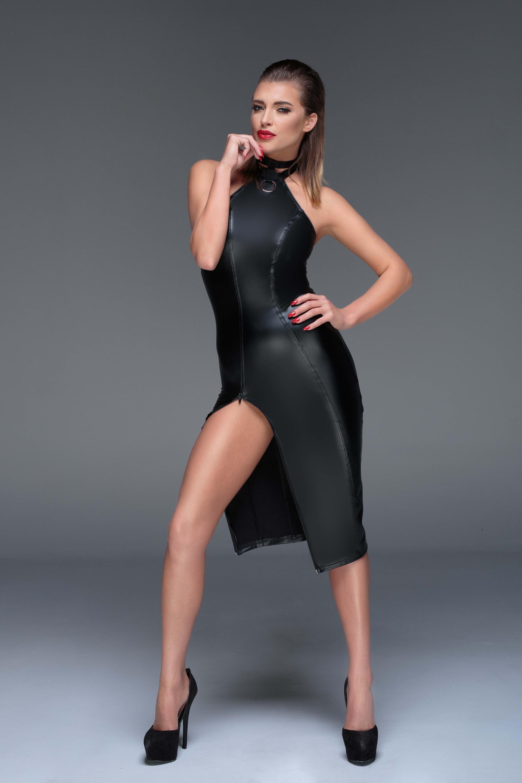 Powerwetlook Mini-robe Noir Handmade f168