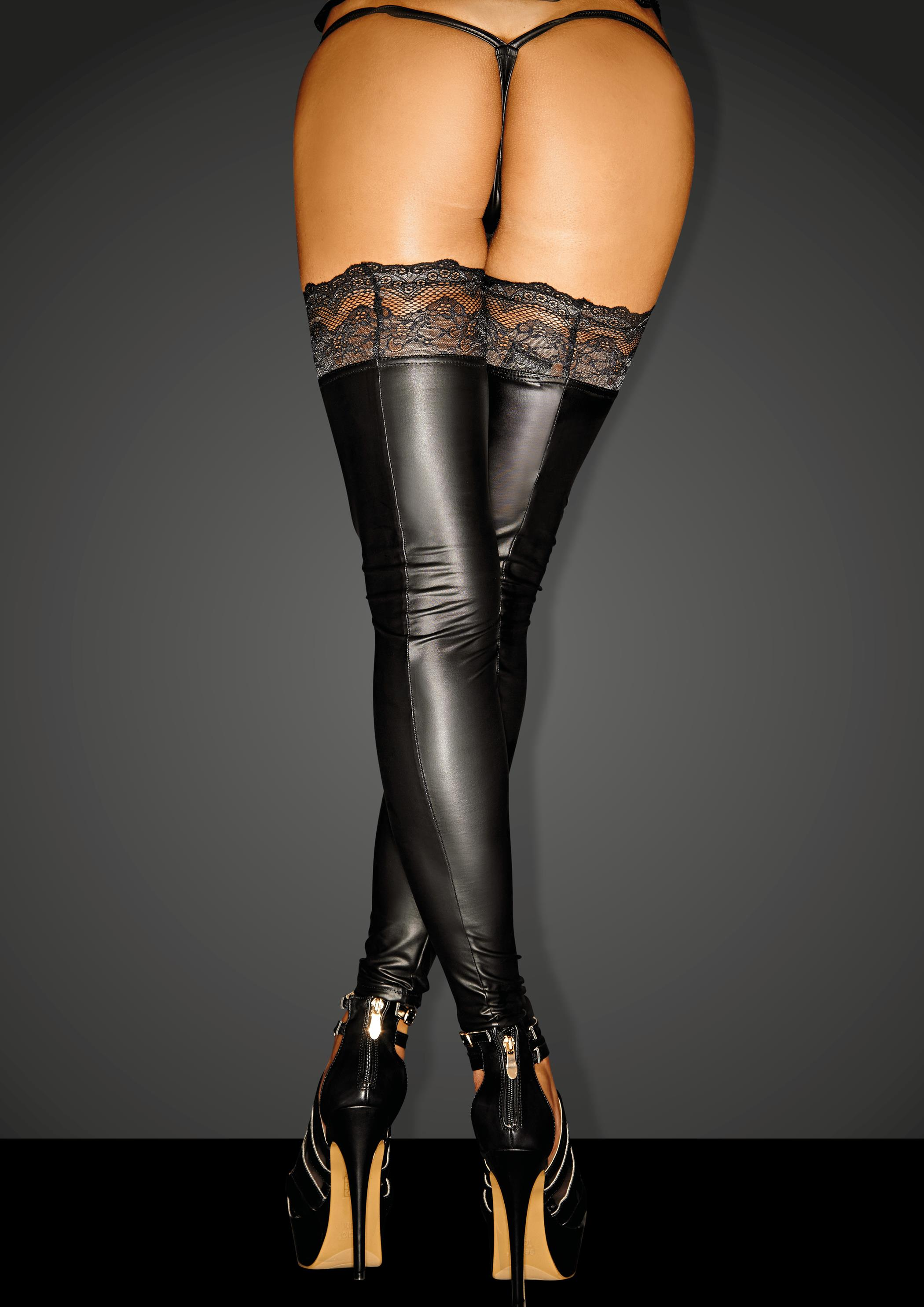 F135 Powerwetlook stockings with siliconed lace SUPERSTAR