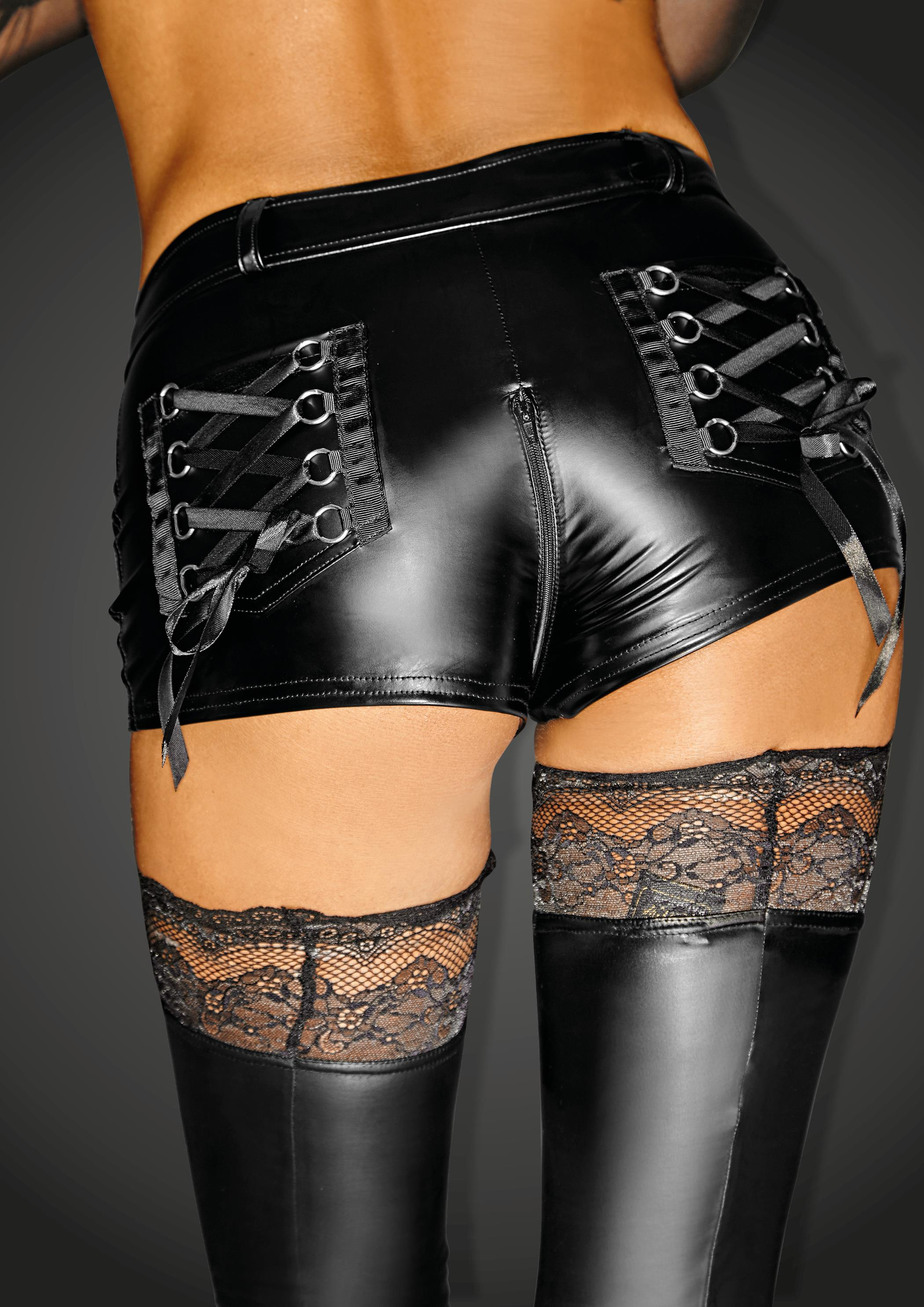 F138 Powerwetlook shorts with 2- way zipper and back pockets with lacing SELFISH