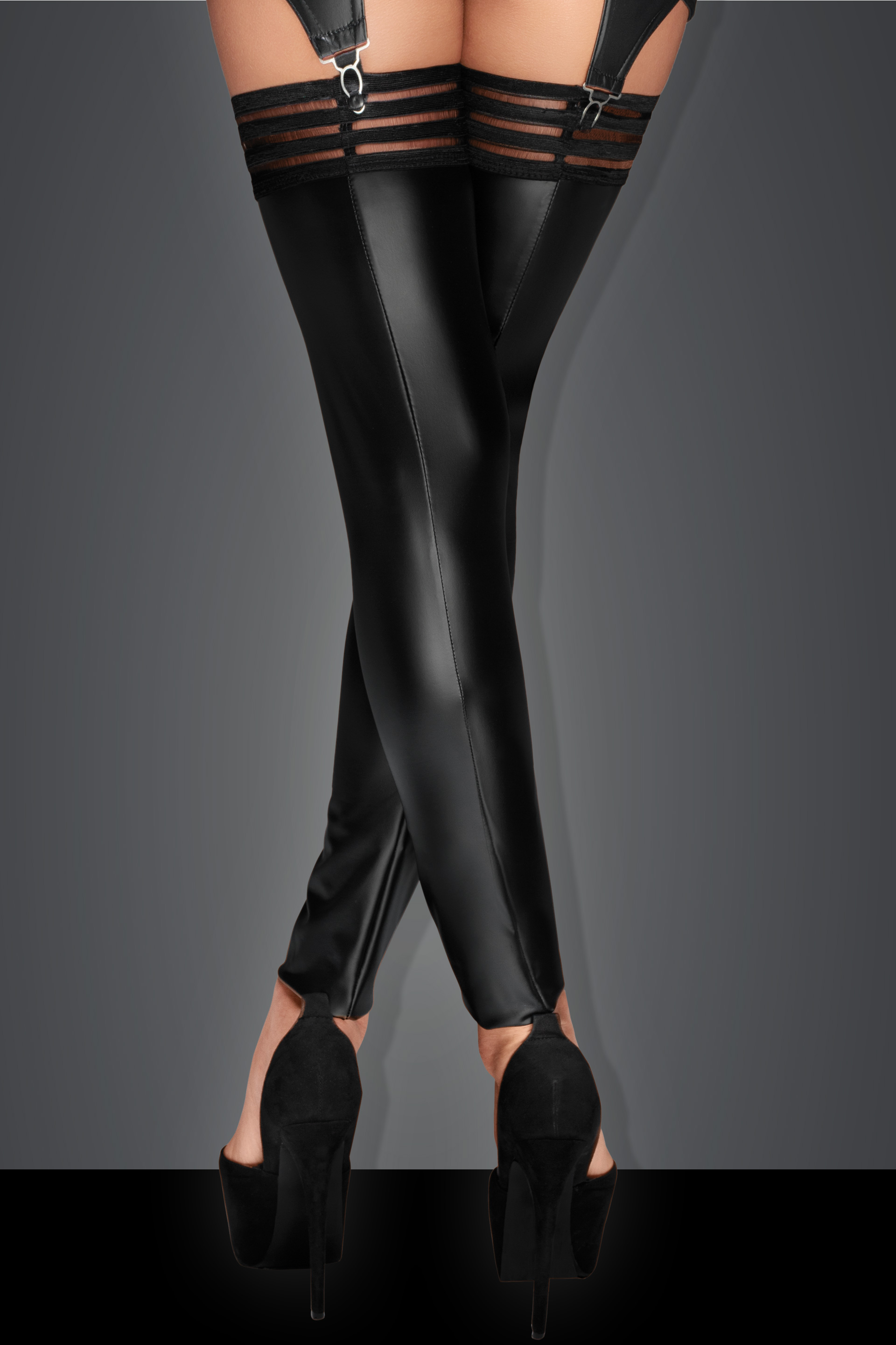 F158 Powerwetlook stockings with elastic tape