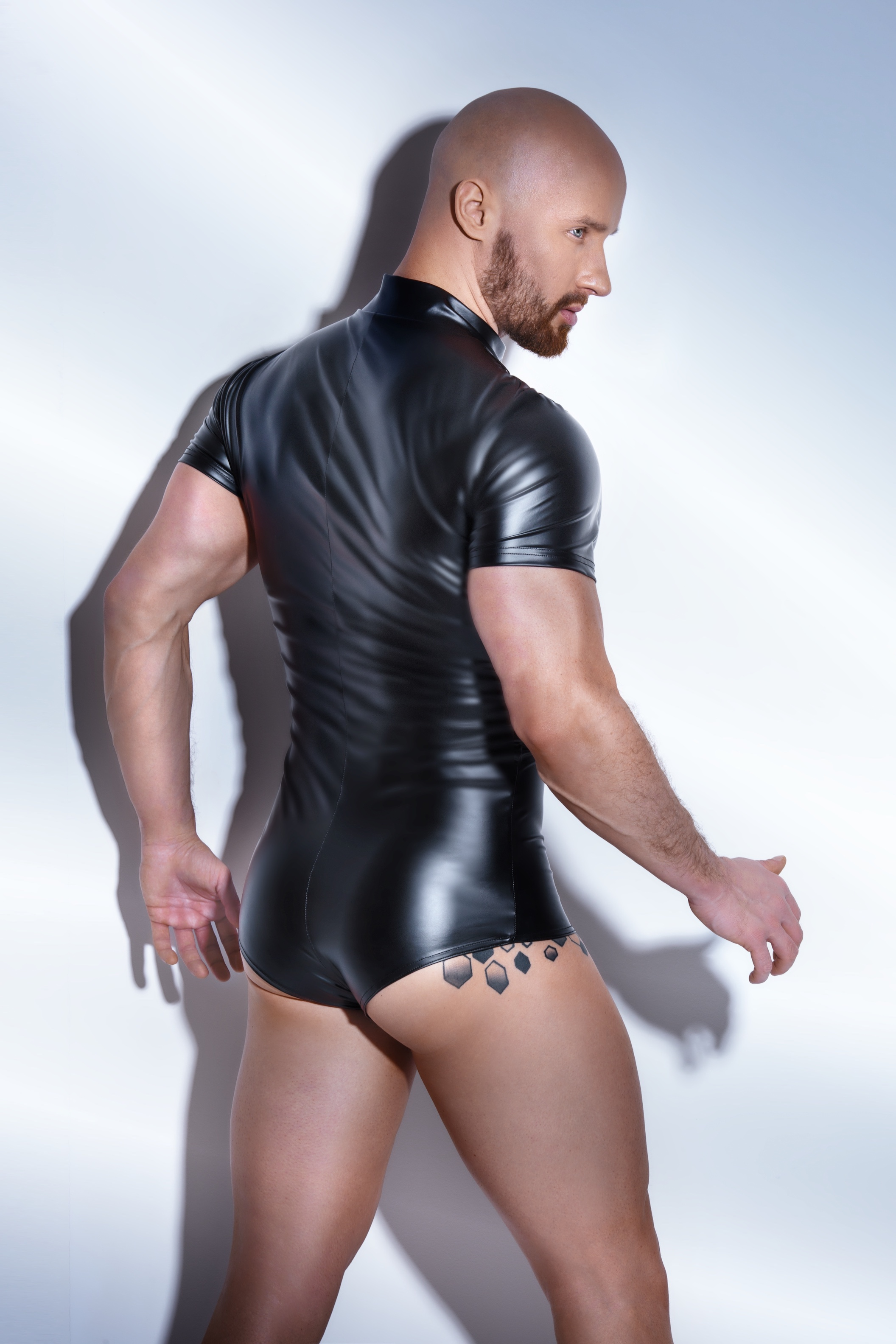 H045 Powerwetlook Body mit Zwei-Wege Zipper