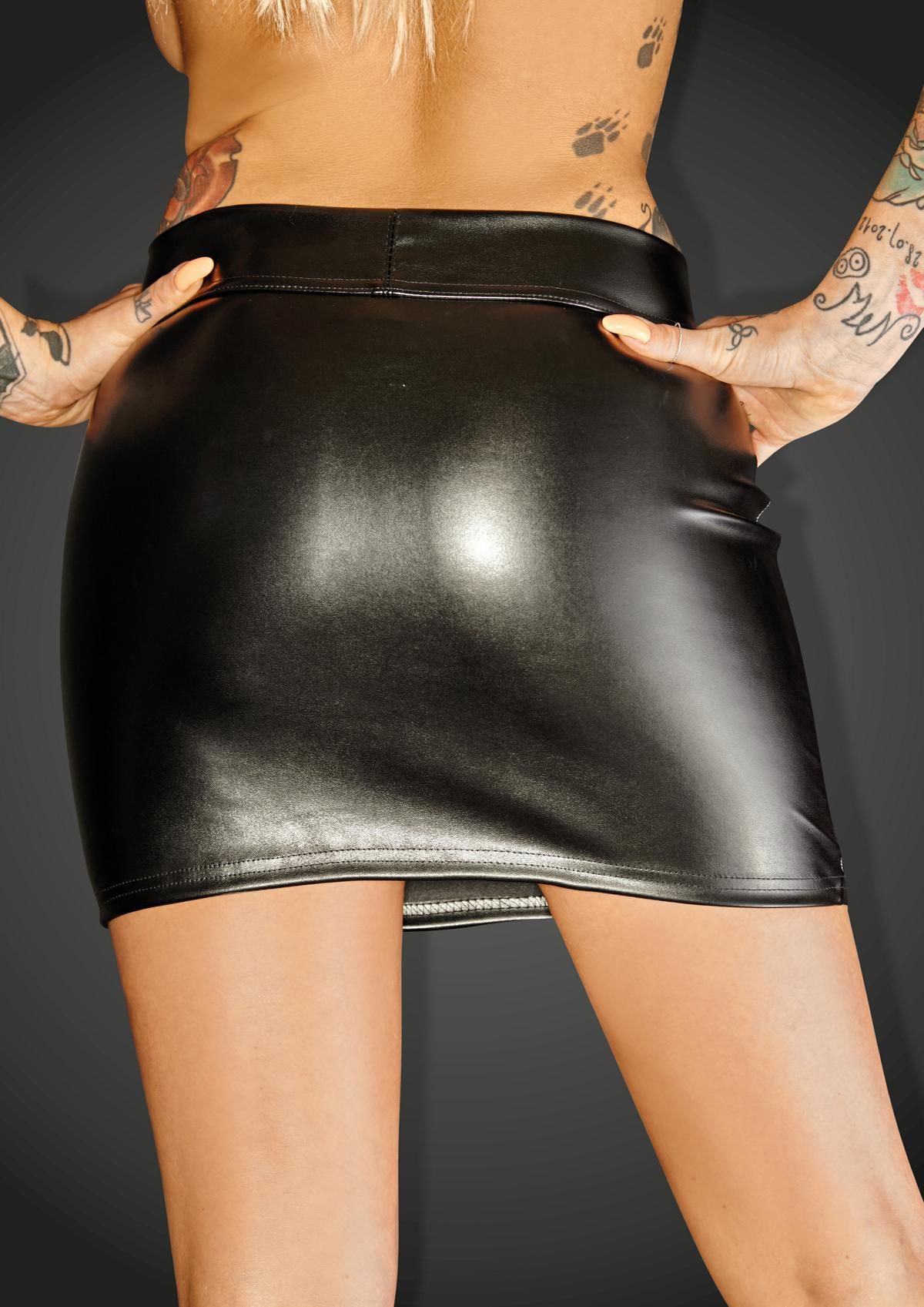 F126 Eco-leather miniskirt with 2- way zipper RULER