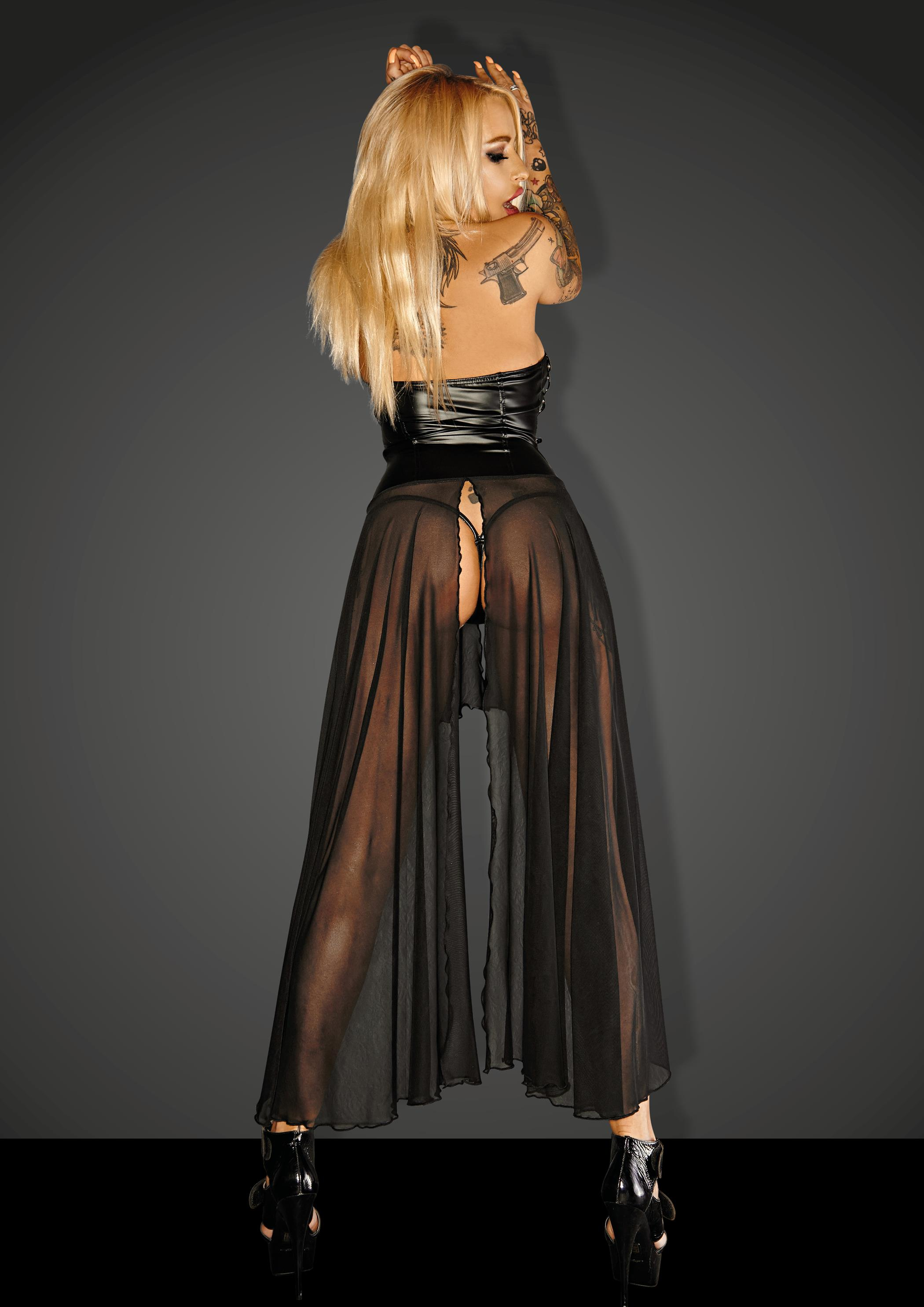 F139 Powerwetlook with tulle long dress with rocky eyeletes GUN