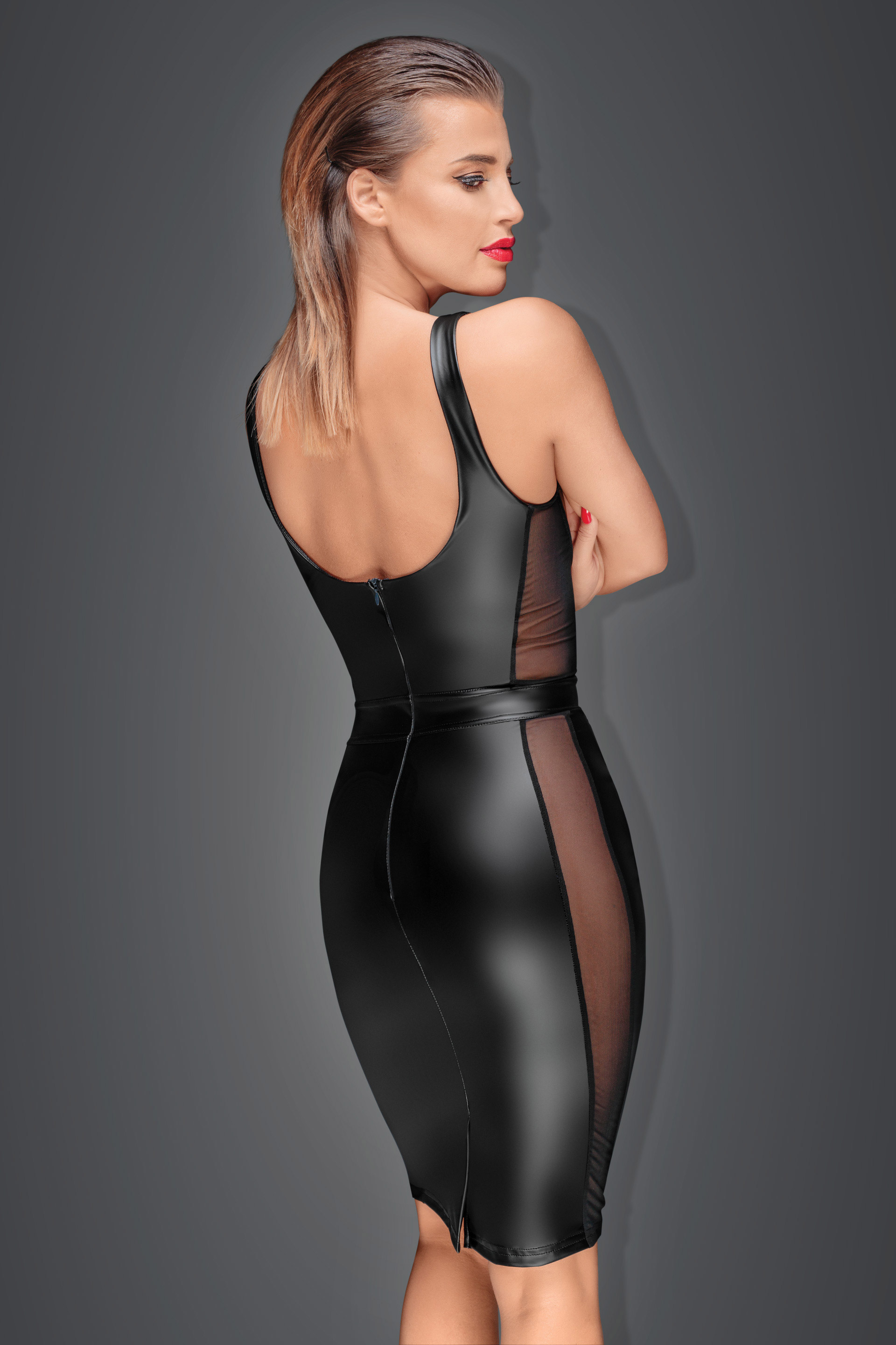 F151 Powerwetlook pencil dress with see-through and underwired bra