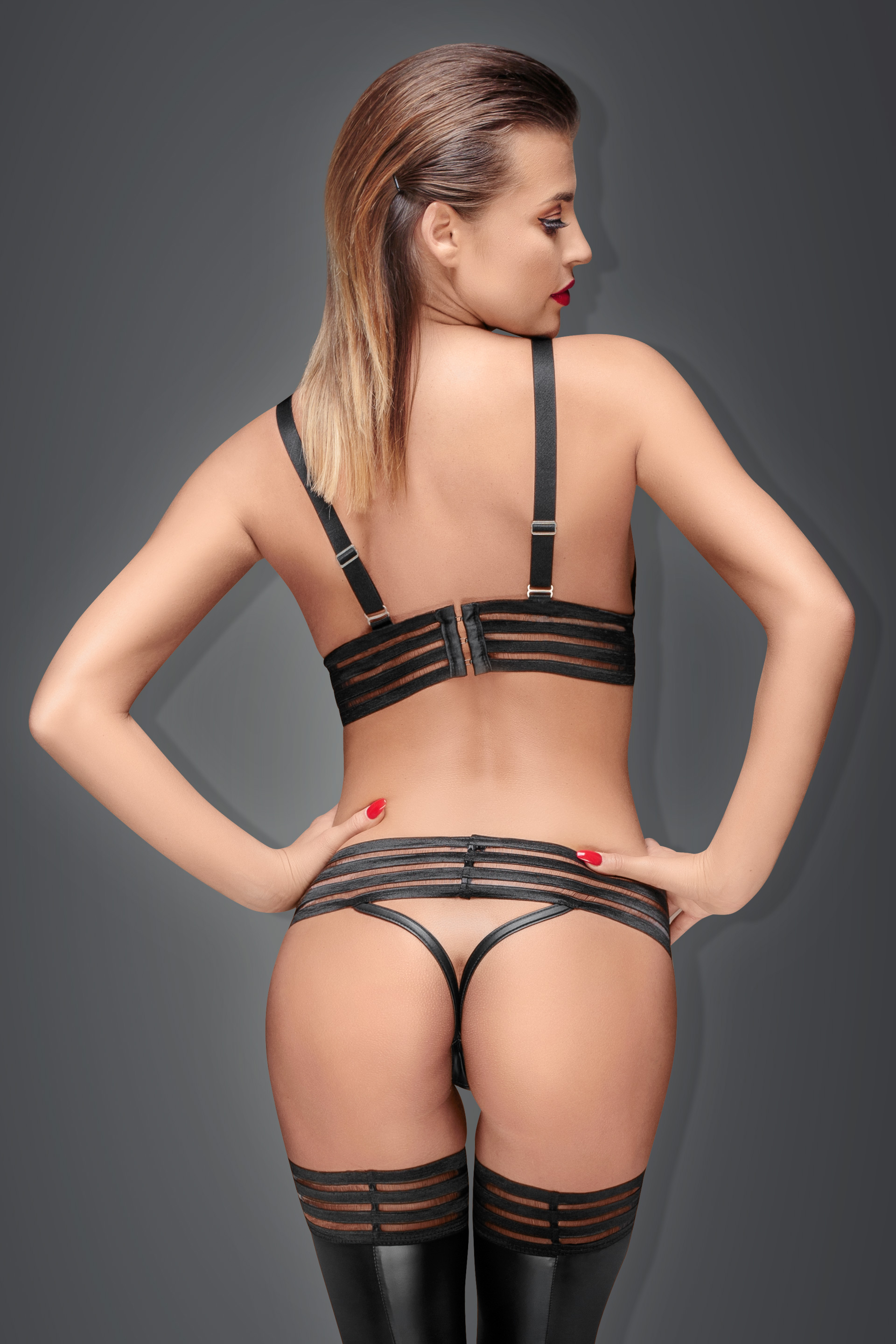 F157 Powerwetlook bralette with elastic tape with closing on hooks
