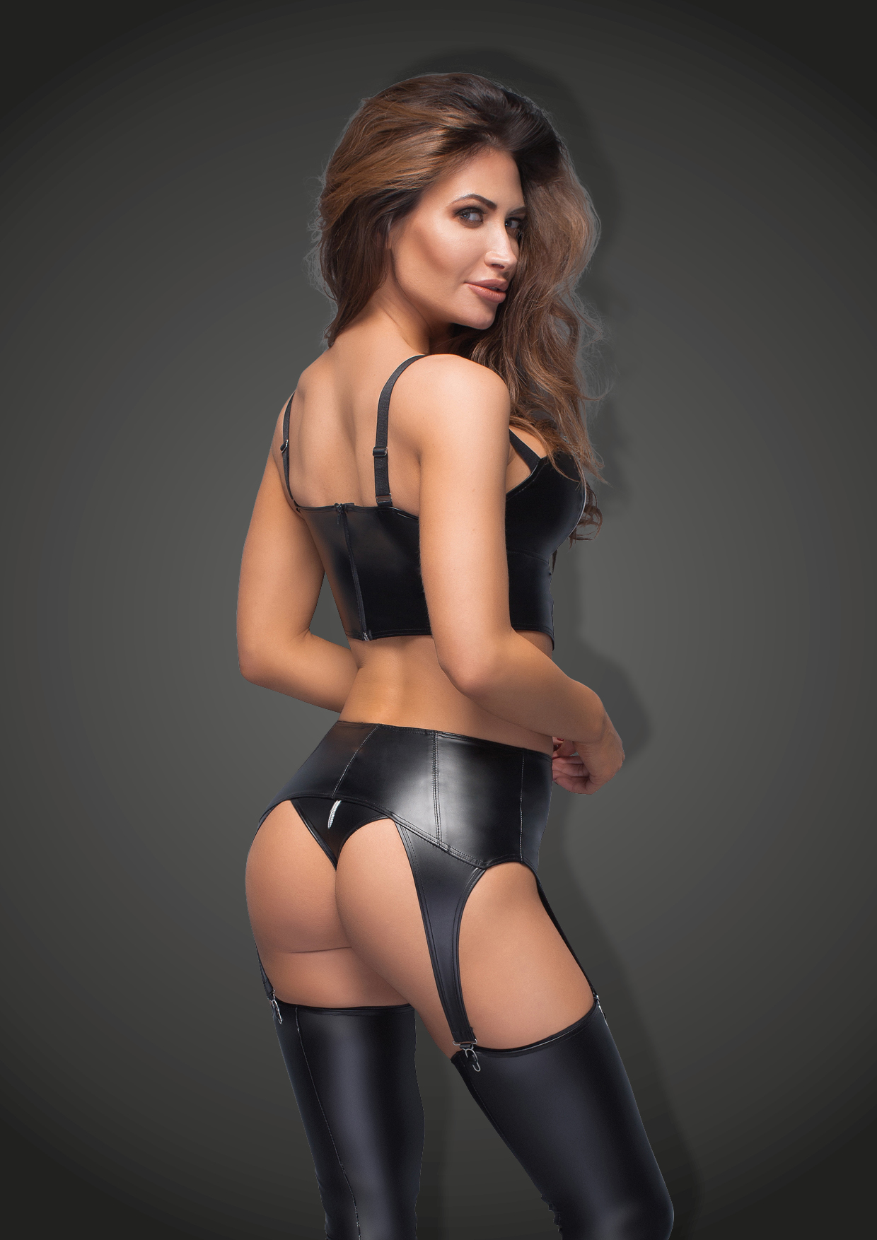 F166 Powerwetlook garter belt with silver zipper