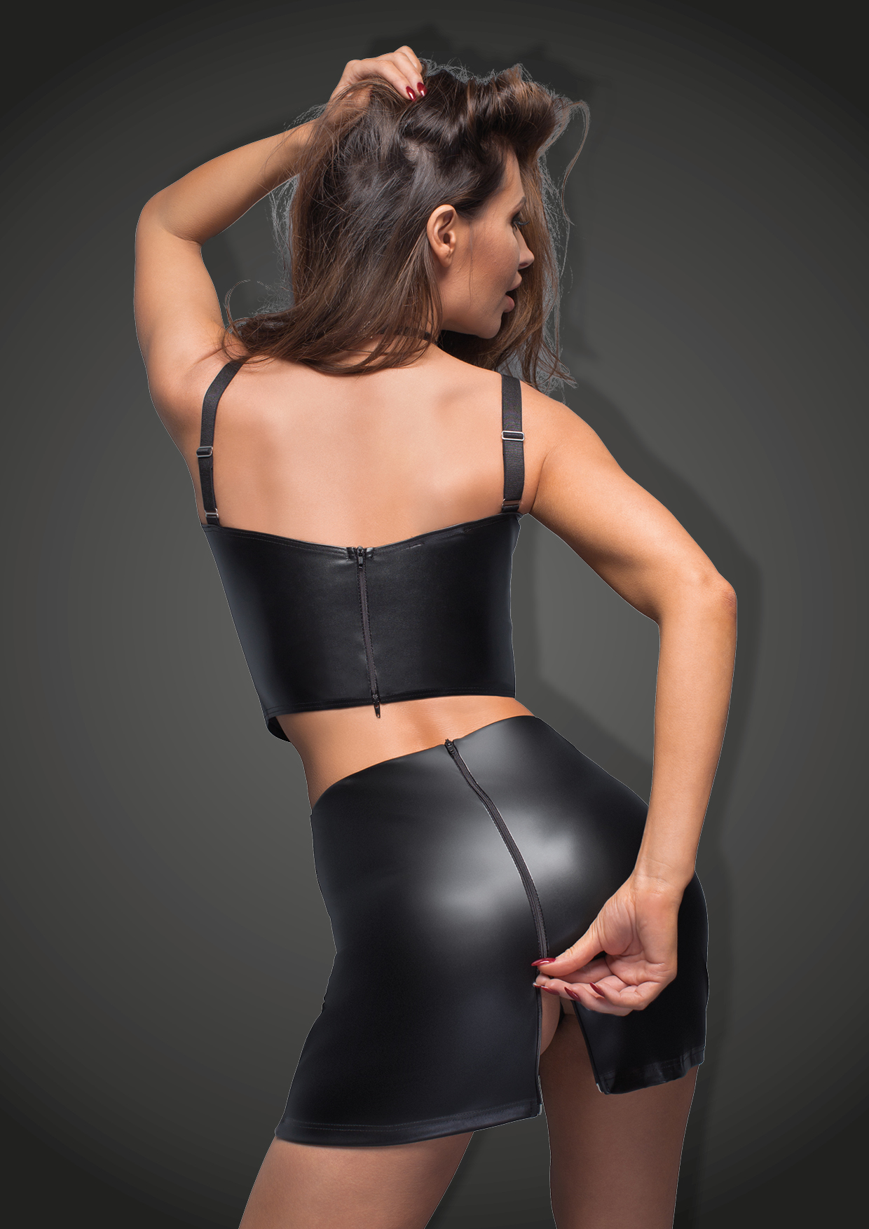 F171 Eco-leather skirt with tape