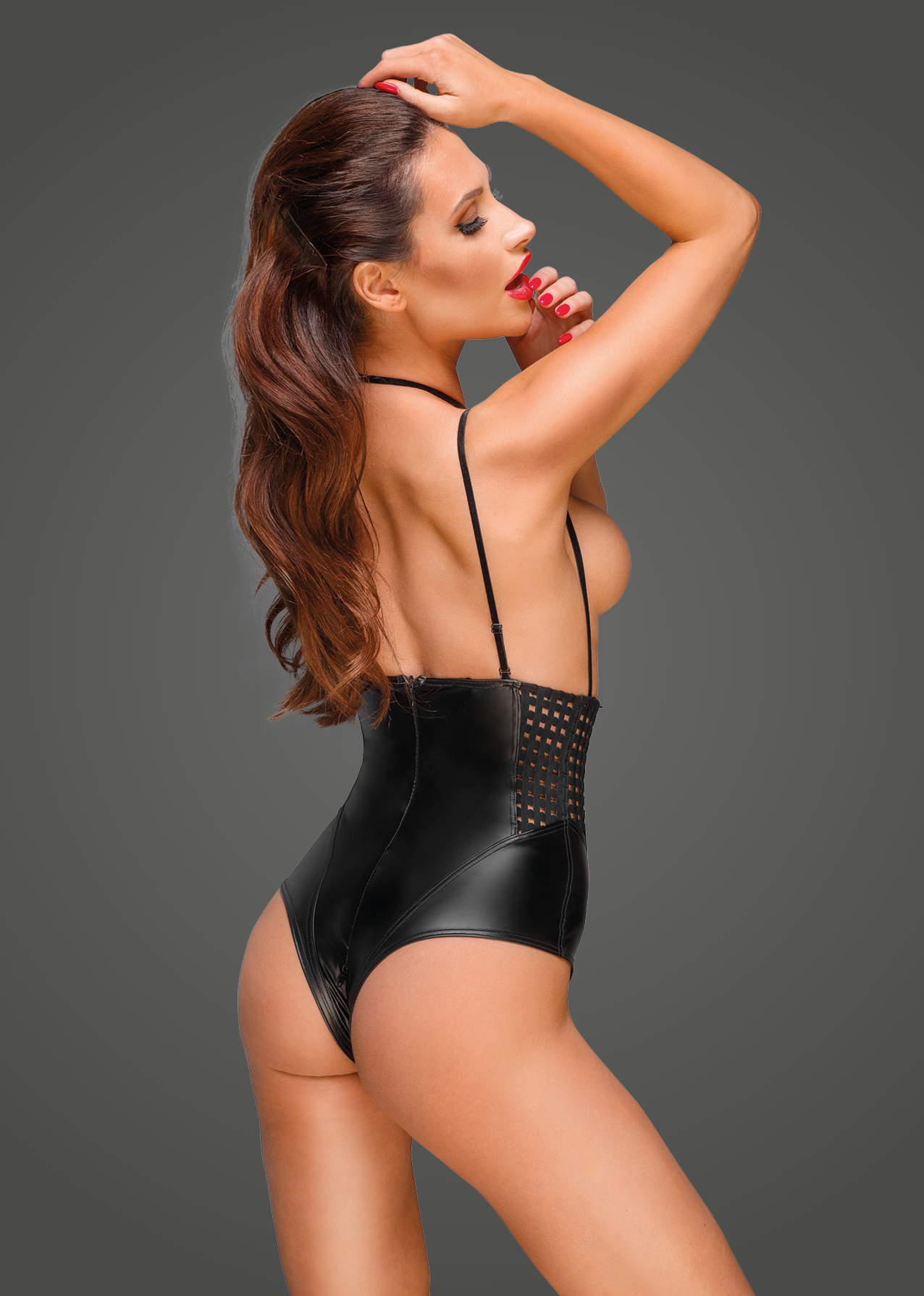 F179 Powerwetlook body with velvet multistraps and chequered tape inserts