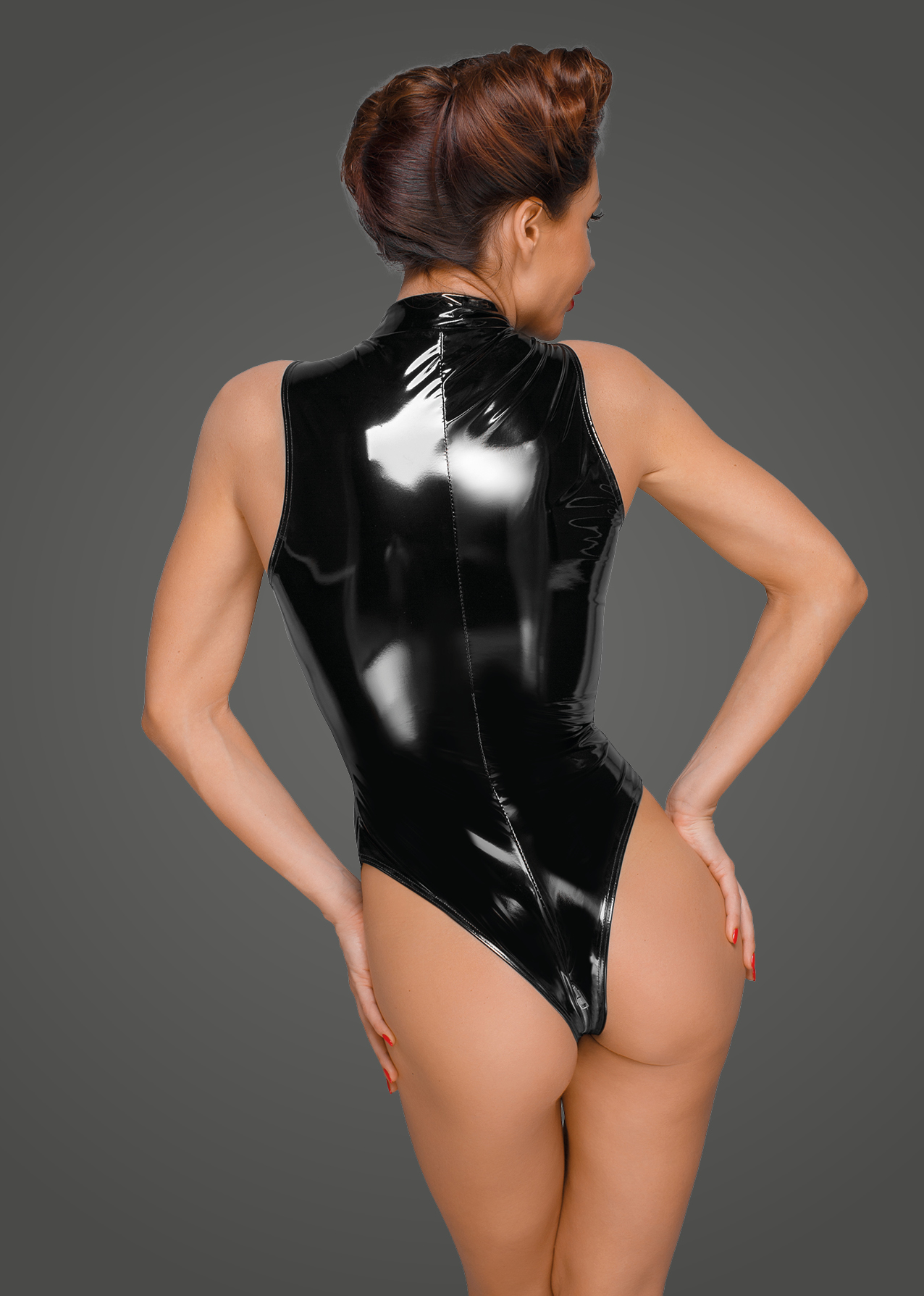 F191 PVC body with deep cut shoulder line and long metal 3-way zipper