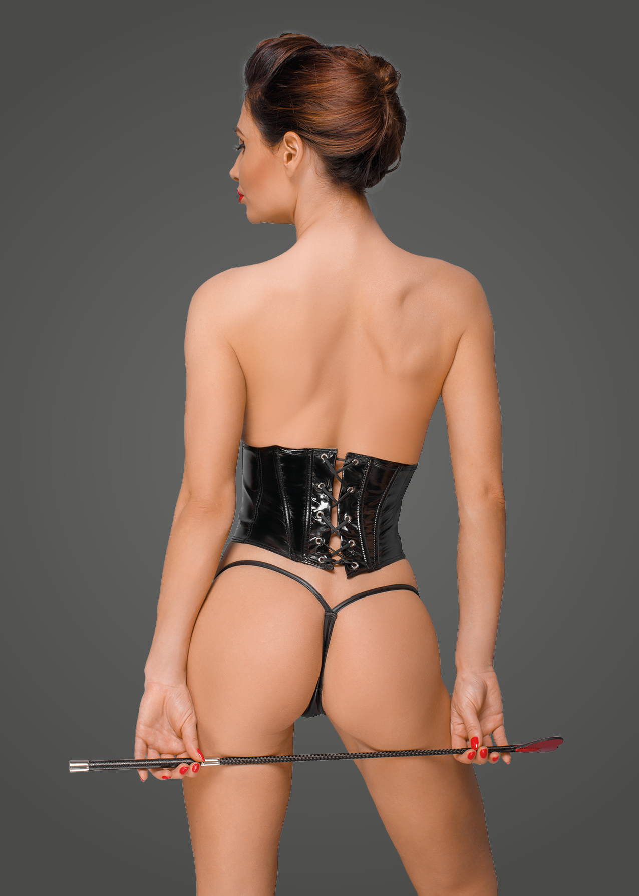 F193 PVC corset with adjustable lacing on the back