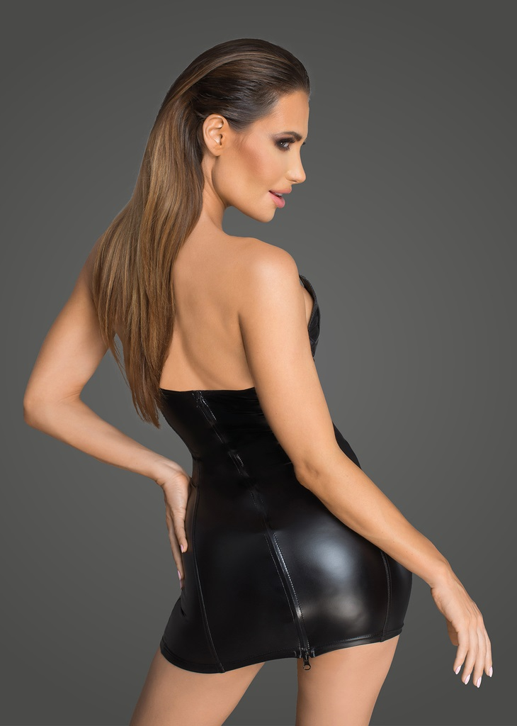 F195 Powerwetlook and lacquered eco leather corset minidress