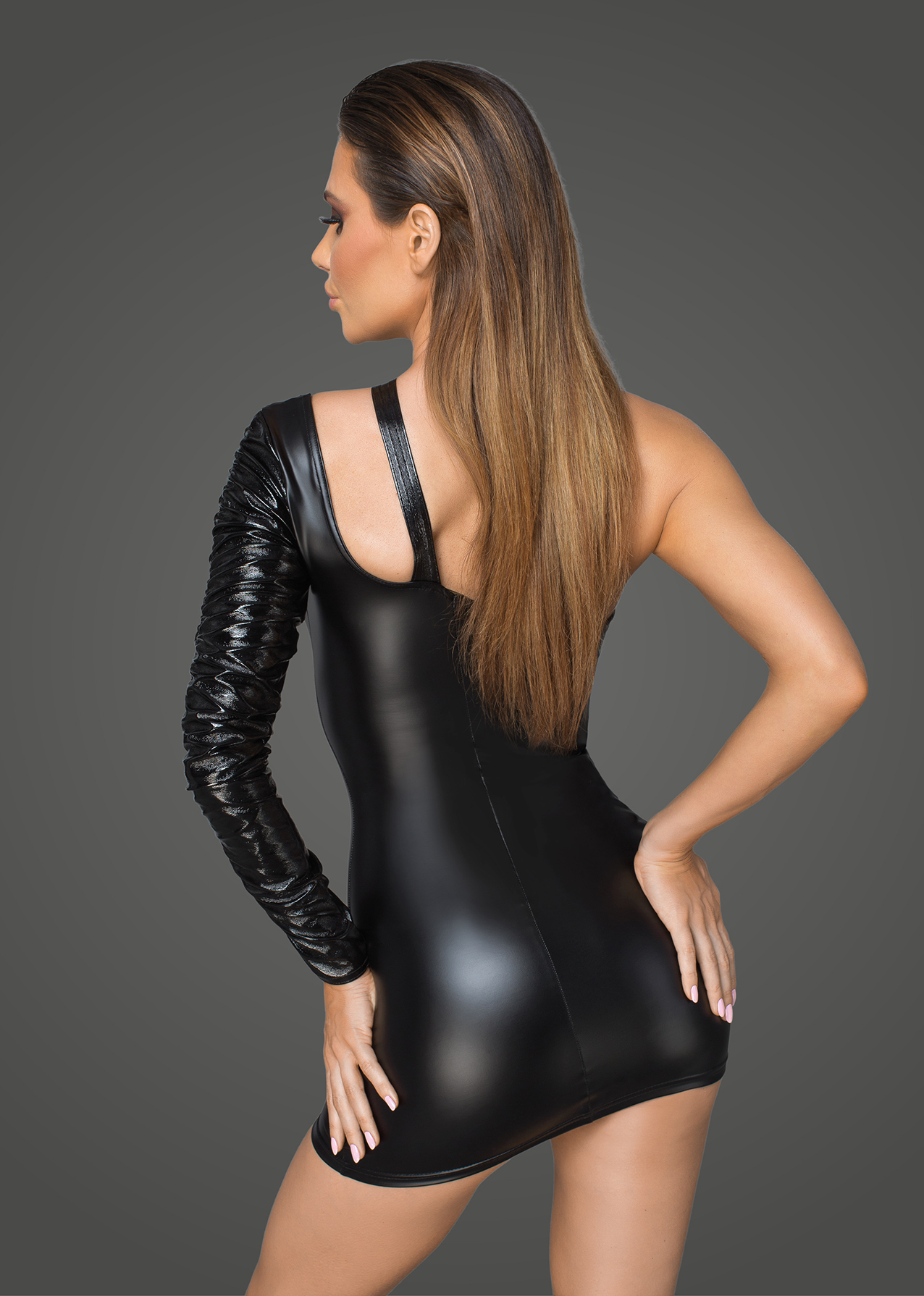 F199 Asymmetrical powerwetlook minidress with fancy neckline