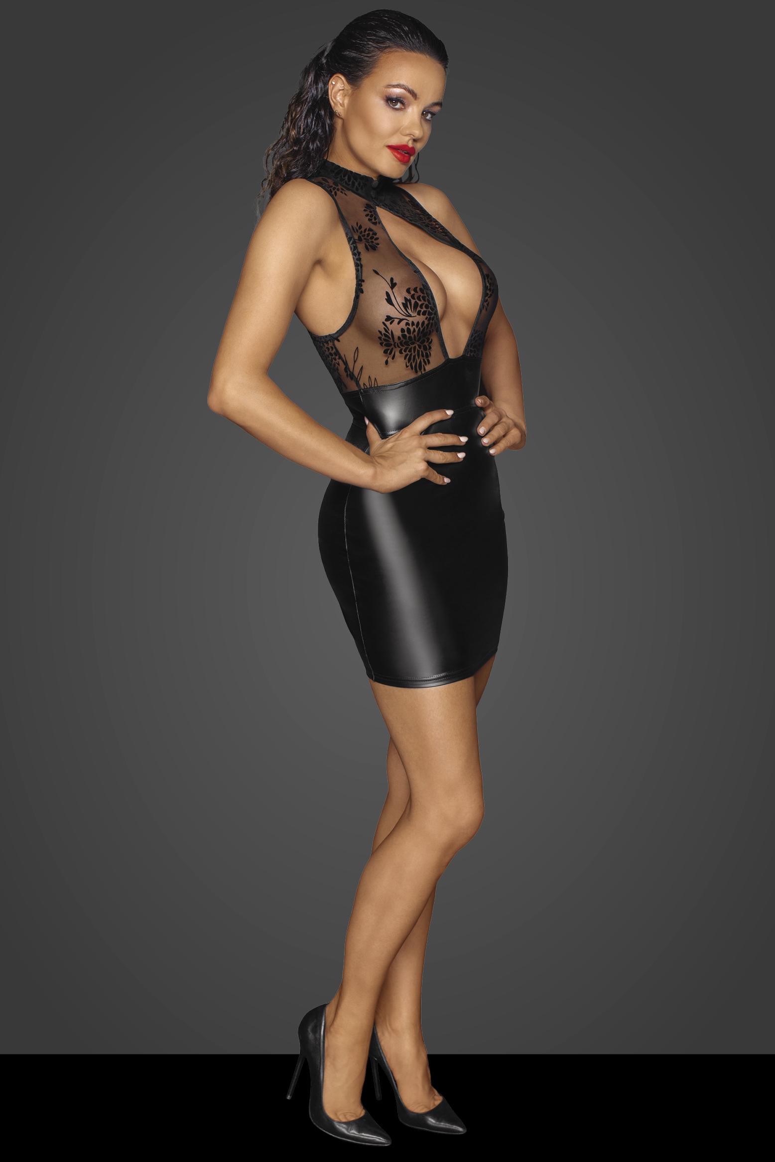 F241 Kurzes Kleid mit Powerwetlook Rock und Tüll Oberteil