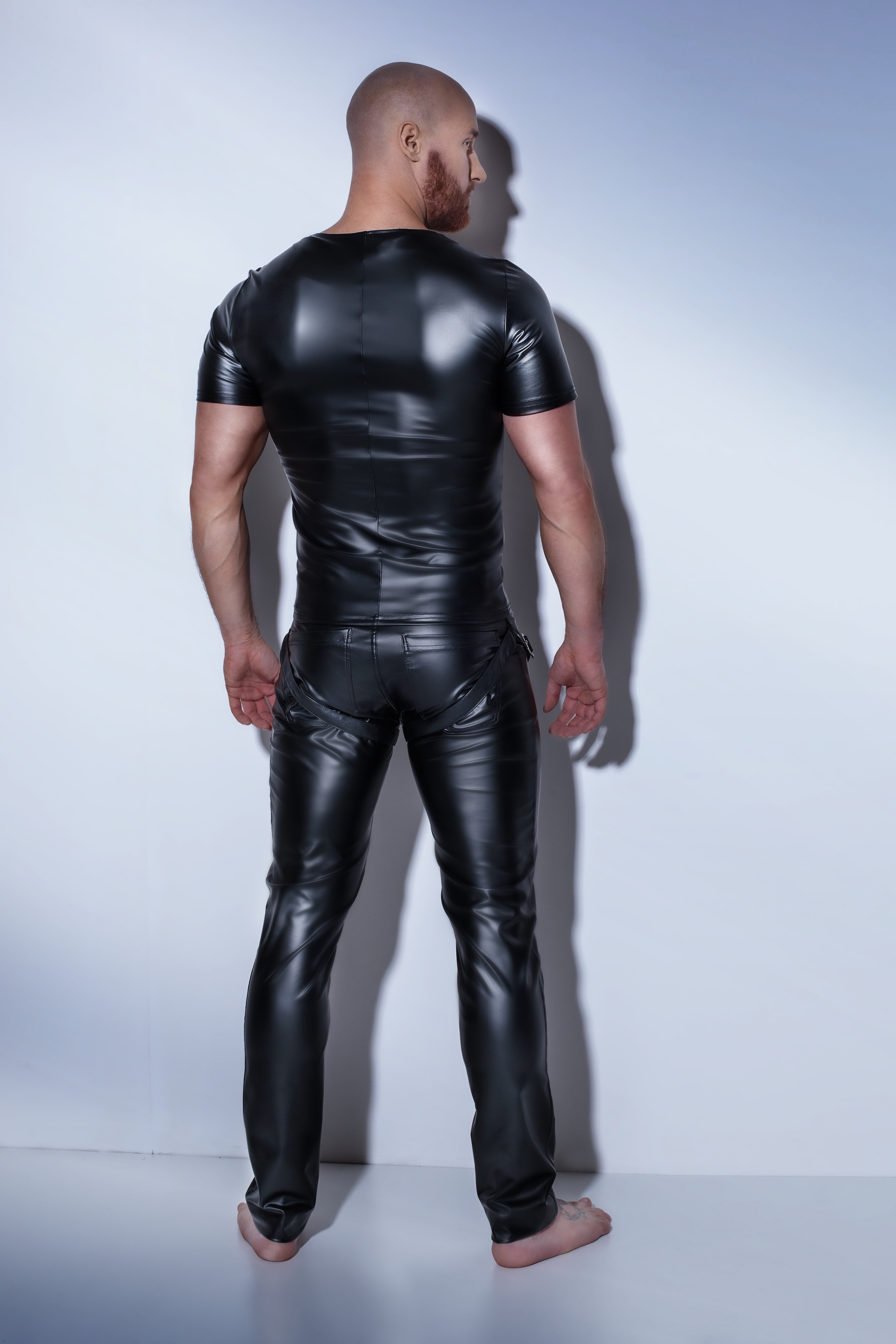 H041 Powerwetlook T-Shirt Harness Style
