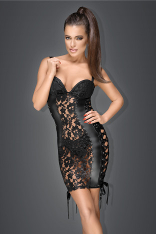 F146 Lace and powerwetlook minidress with adjustable ribbons on side