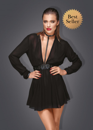 F150 Chiffon minidress with eco-leather belt and rubber tape choker