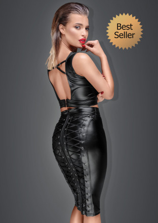 F152 Powerwetlook pencil skirt with long zipper