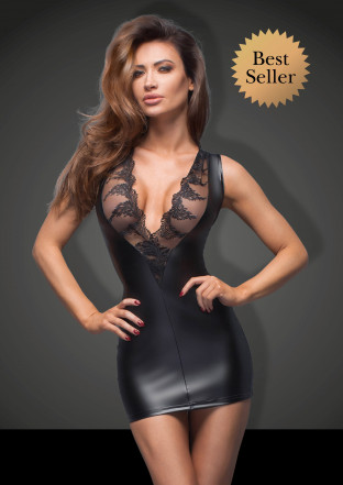 F168 Powerwetlook minidress with lace cleavage