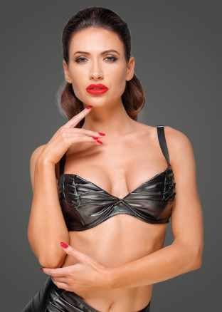 F174 Powerwetlook bra with handmade pleats