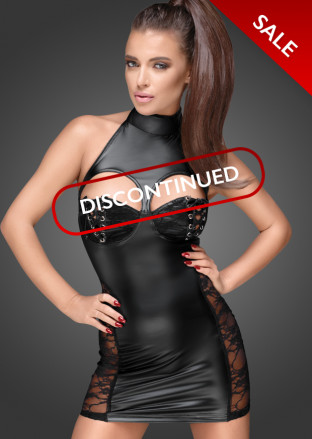 F147 Powerwetlook minidress with cutouts in front and back one-way zipper