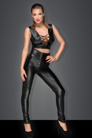 F148 Long high waist pants with lacing and clasps in front