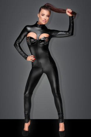 F149 Powerwetlook overall with cutouts and lacing two-way zipper