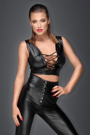 F155 Powerwetlook top with lacing and adjustable straps