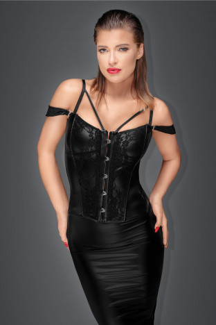 F159 Corset with lace and powerwetlook with detachable straps