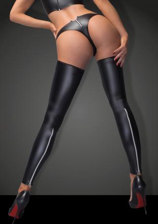 F163 Powerwetlook Stockings und Panties mit silbernem Reißverschluss