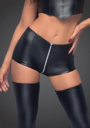 F164 High waist powerwetlook shorts with zipper