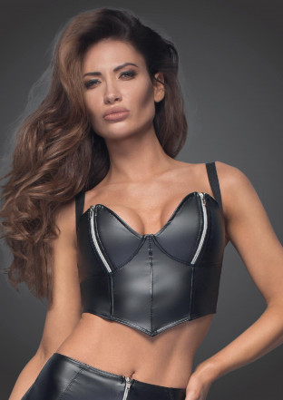 F165 Powerwetlook top with silver zippers on breast