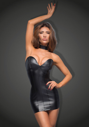 F172 Powerwetlook minidress with eco-leather cups