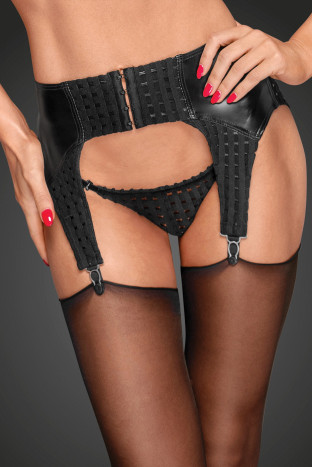 F178 Powerwetlook garter belt with decorative clips and chequered tape
