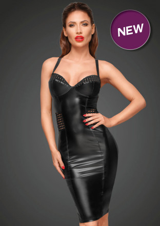 F180 Powerwetlook dress with chequered tape inserts on the waist and bust