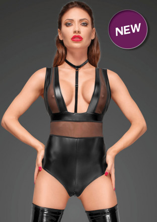 F183 Powerwetlook body with wide straps, tulle inserts and velvet choker