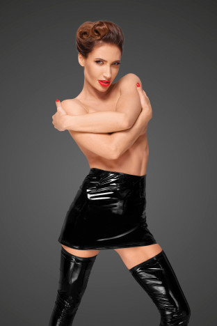 F189 PVC mini skirt with long hidden zipper on the side