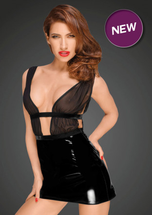 F194 Mini dress with PVC skirt and chiffon top with velvet trims and belt