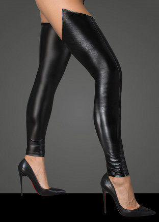 F196 Lacquered eco leather and powerwetlook stockings