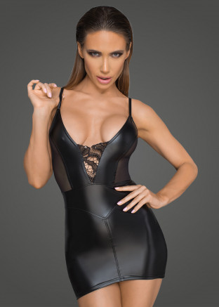 F205 Powerwetlook minidress with tulle inserts and corset cuts