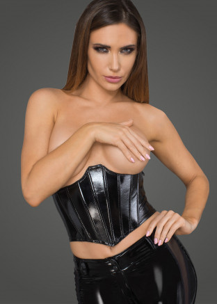 F211 Lacquered eco leather corset wit fishbones