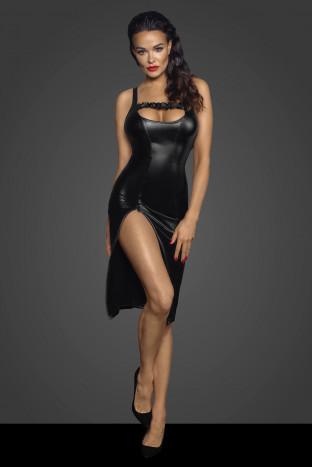 F251 Powerwetlook Midi Kleid mit Zipper auf der Vorderseite