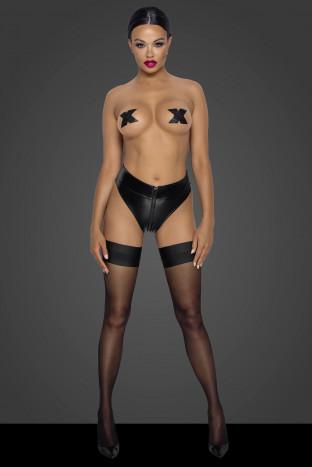 F260 Powerwetlook waisted panties with 2 way zipper