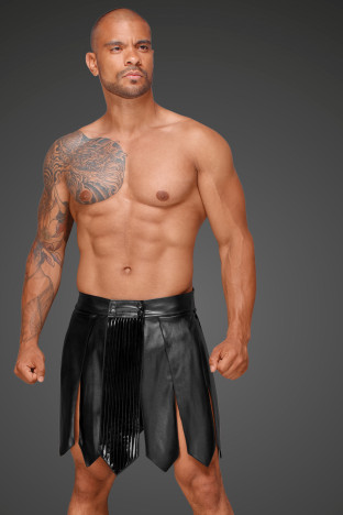 H053 Eco leather men's gladiator skirt with PVC pleats