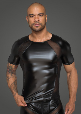 H056 Men's T-shirt made of powerwetlook  with 3D net inserts